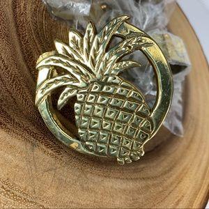 Other - Vintage Pineapple Brass Napkin Rings new In Pkg